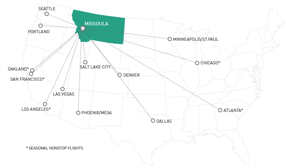 Direct flight map for the Missoula International Airport