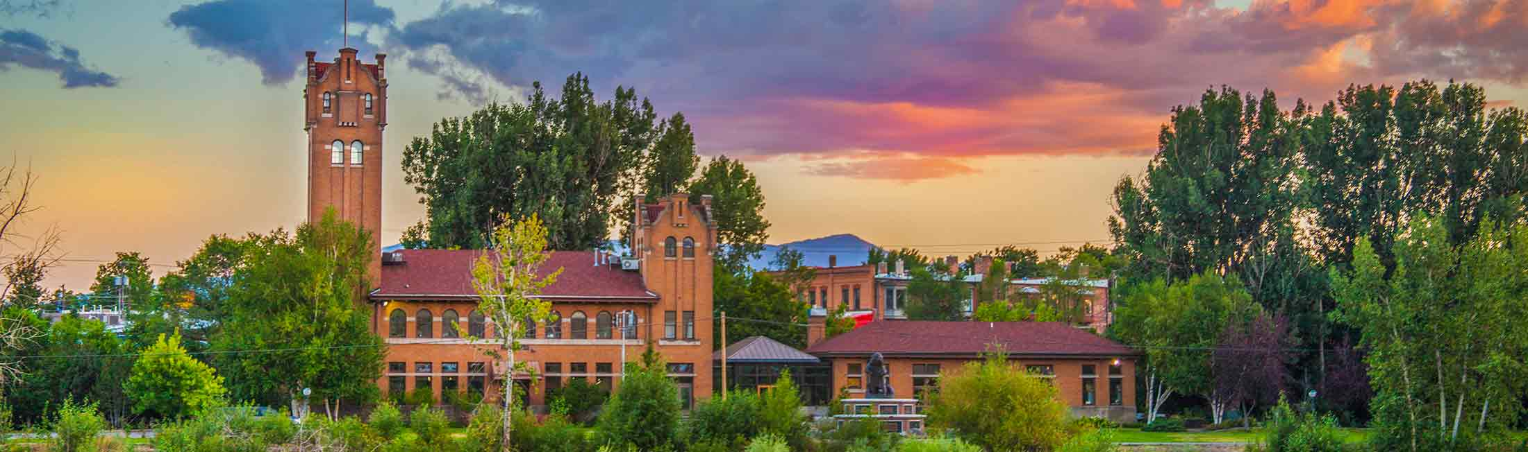 Summer sunset over the Boone and Crocket Building in Downtown Missoula
