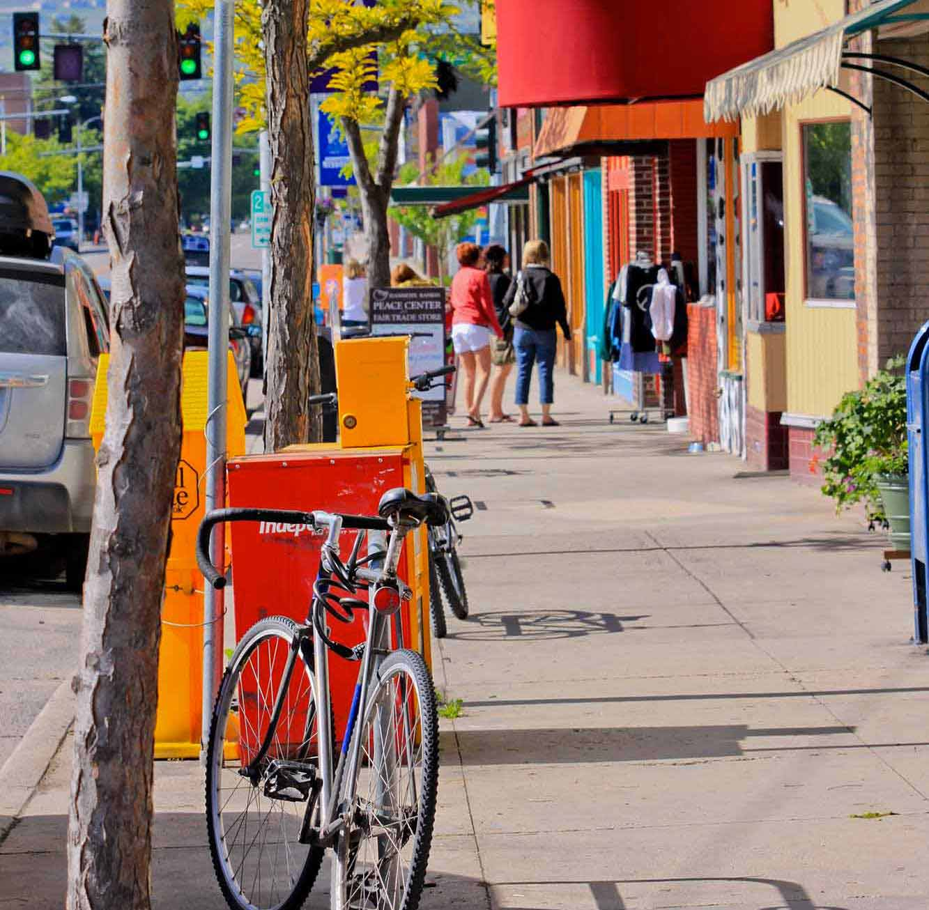 Bike in downtown Missoula on the hip strip.