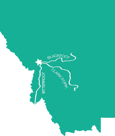 Map of the Rivers in Missoula